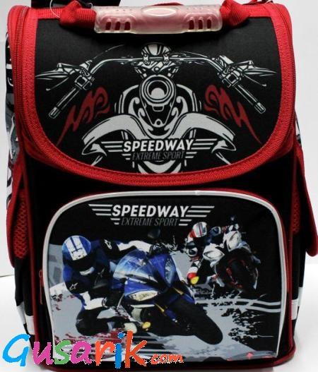99c8157e9440 Ранцы с ортопедической спинкой Josef Otten - Черный ранец для первых  классов с гонщиком SM-